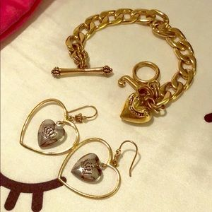 Juicy Couture J charm bracelet and heart earrings